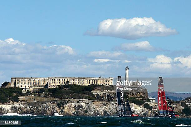 Oracle Team USA skippered by James Spithill Emirates and Team New Zealand skippered by Dean Barker compete during the final race of the America's Cup...