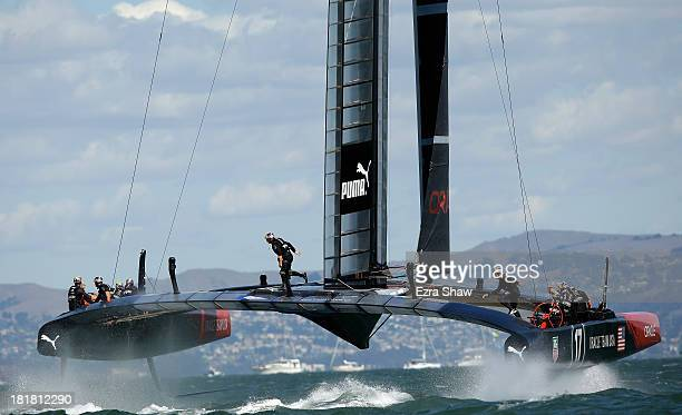 Oracle Team USA skippered by James Spithill in action against Emirates Team New Zealand skippered by Dean Barker during race 19 of the America's Cup...