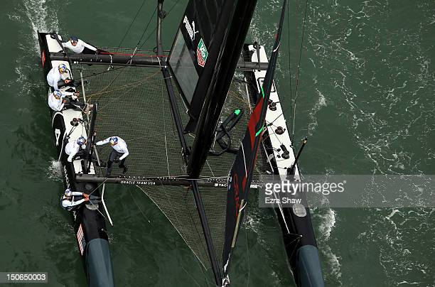 Oracle Team USA skippered by James Spithill in action during a fleet race in the America's Cup World Series on August 23 2012 in San Francisco...