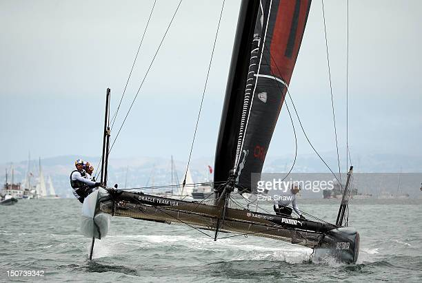 Oracle Team USA skippered by James Spithill in action during the America's Cup World Series on August 25 2012 in San Francisco California