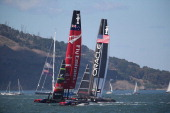 Oracle Team USA skippered by James Spithill races against Emirates Team New Zealand skippered by Dean Barker during the final race of the America's...