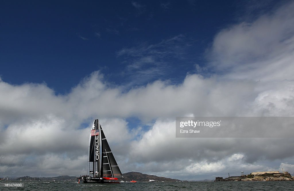 Oracle Team USA skippered by James Spithill sails on the San Franisco Bay on September 21, 2013 in San Francisco, California. Oracle Team USA was supposed to race against Emirates Team New Zealand skippered by Dean Barker in race 14 of the America's Cup Finals today but the race was postponed due to wind direction.