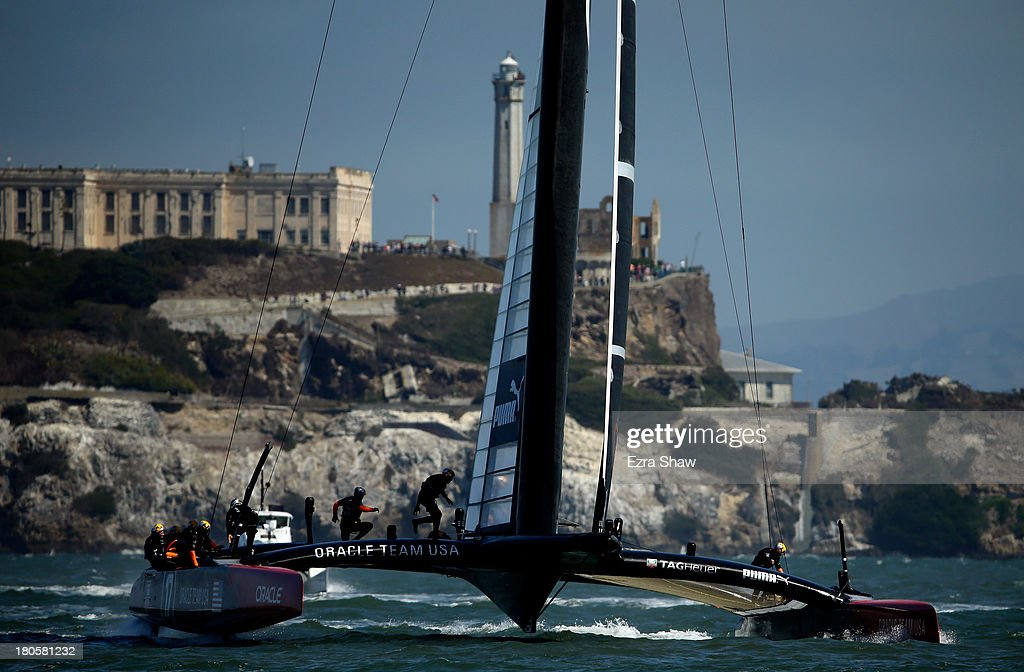 Oracle Team USA skippered by James Spithill warms up before racing against Emirates Team New Zealand skippered by Dean Barker in race eight of the America's Cup Finals on September 14, 2013 in San Francisco, California. Oracle Team USA won the race.