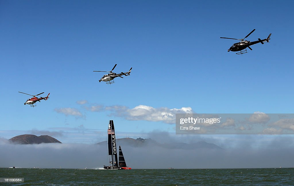 Oracle Team USA skippered by James Spithill warms up before racing against Emirates Team New Zealand in race 14 of the America's Cup Finals on...