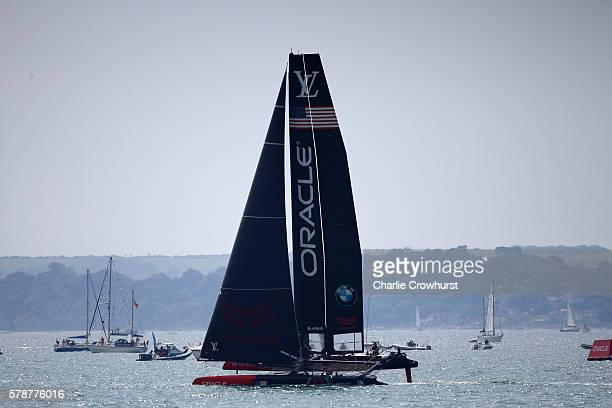 Oracle Team USA skippered by Jimmy Spithall in action during day one of the Louis Vuitton America's Cup World Series on July 22 2016 in Portsmouth...