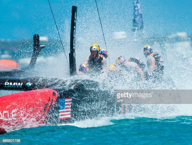Oracle Team USA skippered by Jimmy Spithill compete during the second day of the America's Cup on May 28 2017 on Bermuda's Great Sound / AFP PHOTO /...