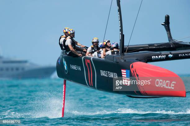 Oracle Team USA skippered by Jimmy Spithill competes during the second day of the America's Cup on May 28 2017 on Bermuda's Great Sound / AFP PHOTO /...