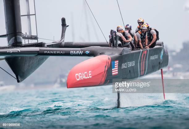 Oracle Team USA skippered by Jimmy Spithill competes in the America's Cup on June 3 2017 on Bermuda's Great Sound Holders Oracle Team USA defeated...