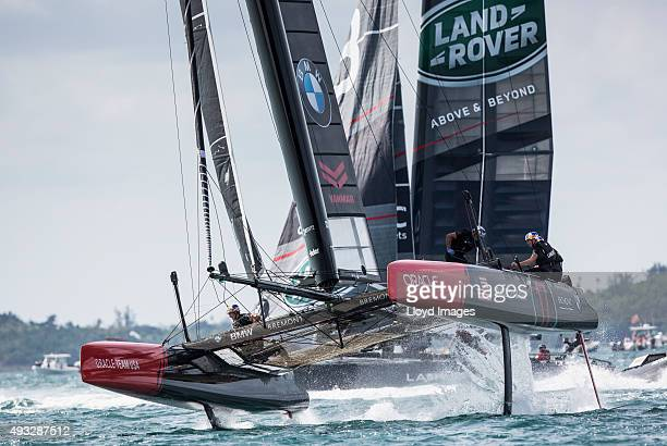 Oracle Team USA skippered by Jimmy Spithill during the Louis Vuitton Americas Cup World Series on October 18 2015 in Hamilton Bermuda