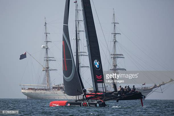 Oracle Team USA skippered by Jimmy Spithill of Australia shown here in action on day 1 of racing close to the shore