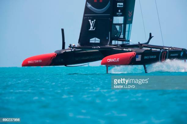 Oracle Team USA skippered by Jimmy Spithill races during the forth day of the Louis Vuitton Americas Cup Qualifiers on May 30 2017 on Bermuda's Great...