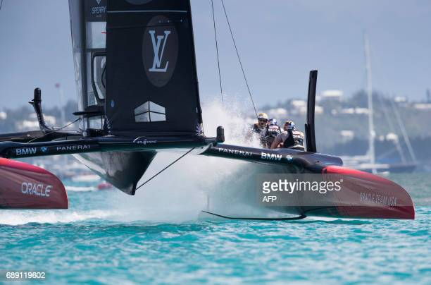 Oracle Team USA skippered by Jimmy Spithill sails as the 35th America's Cup gets underway on May 27 2017 on Bermuda's Great Sound where near...