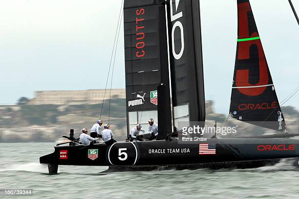 Oracle Team USA skippered by Russell Coutts in action during the America's Cup World Series on August 25 2012 in San Francisco California