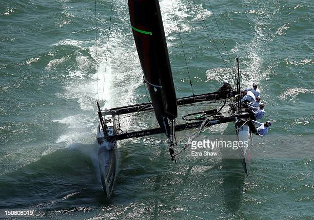 Oracle Team USA skippered by Russell Coutts in action during the match race final of the America's Cup World Series on August 26 2012 in San...