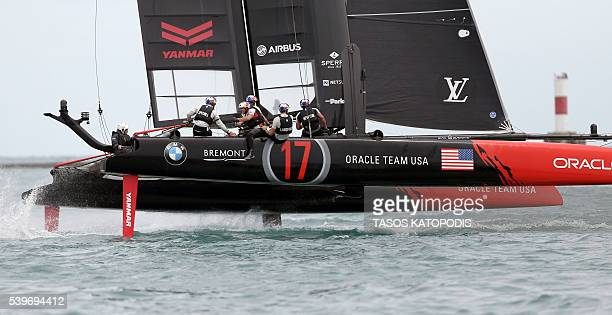 Oracle Team USA takes part in the Louis Vuitton America's Cup World Series the first freshwater sailing race in the event's history on Lake Michigan...