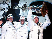 Oracle's helmsman James Spithill of Australia BMW Oracle Racing CEO and skipper Russell Coutts of New Zealand and Oracle Corporation CEO Larry...