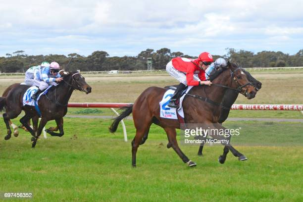 Orakei Overlord ridden by Ben Allen wins the Weirâs IGA Donald Maiden Plate at Donald Racecourse on June 19 2017 in Donald Australia