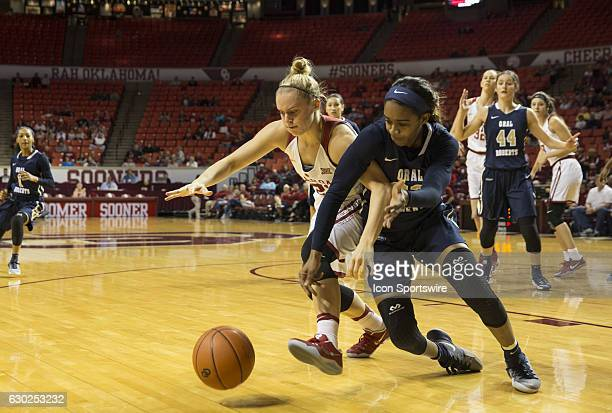 Oral Roberts University player Jordan Gilbert and University of Oklahoma player Gabbi Ortiz struggle for the ball during the Oral Roberts University...