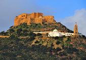 Oran, Algeria / Algérie: Djebel Murdjadjo mountain, Santa Cruz fortress and Our Lady of Santa Cruz Basilica - photo by M.Torres