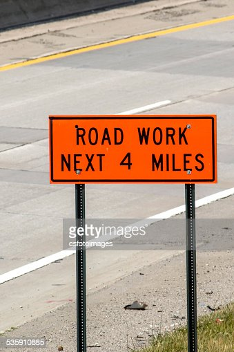 Orane and Black Road Works Sign : Stock Photo