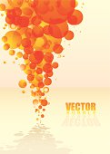 orange abstract bubble background with shadow and reflection