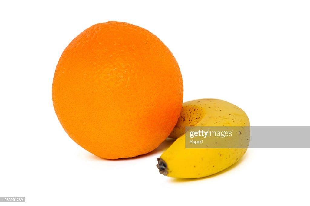 Orange and  banana : Stock Photo