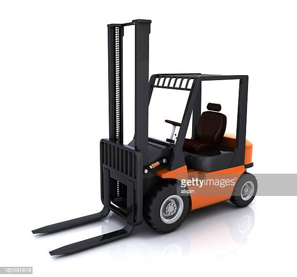 Orange and black forklift against white background
