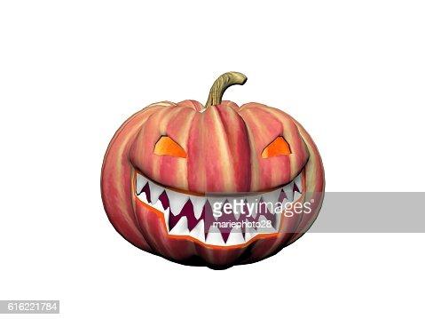 orange and black smiling pumpkin - 3d render : Stock Photo