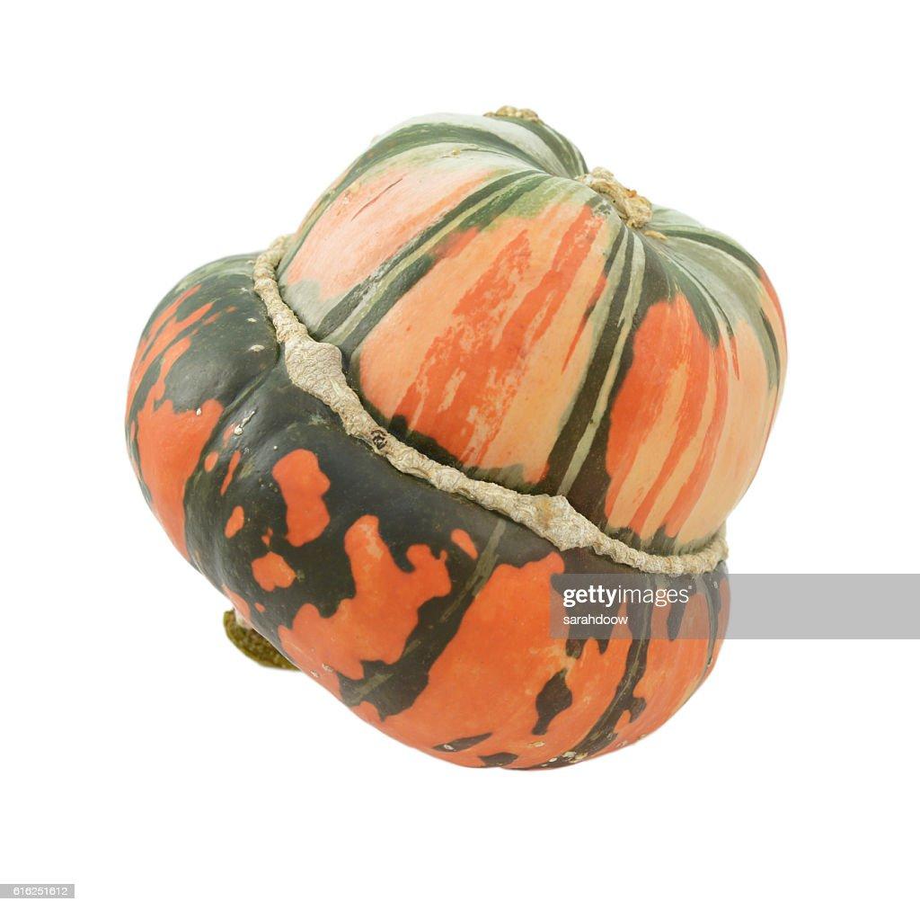 Orange and green striped Turban squash : Foto de stock