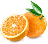 Orange and half of fruit. File contains clipping paths.