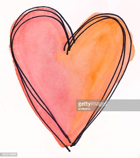 Orange and pink hand painted heart on isolated white background