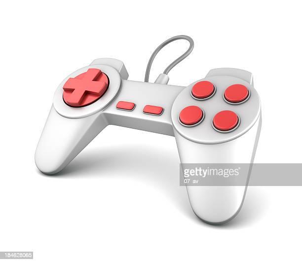 A orange and silver joystick game controller