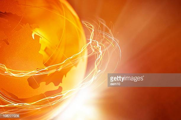 Orange and Yellow Globe with Light Circling It