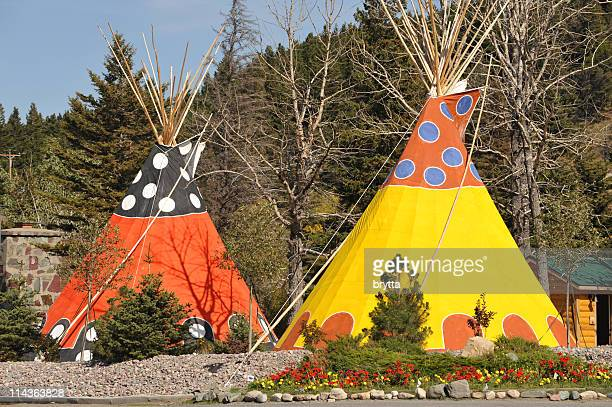 Orange and yellow  teepee lodging in Glacier National Park,USA