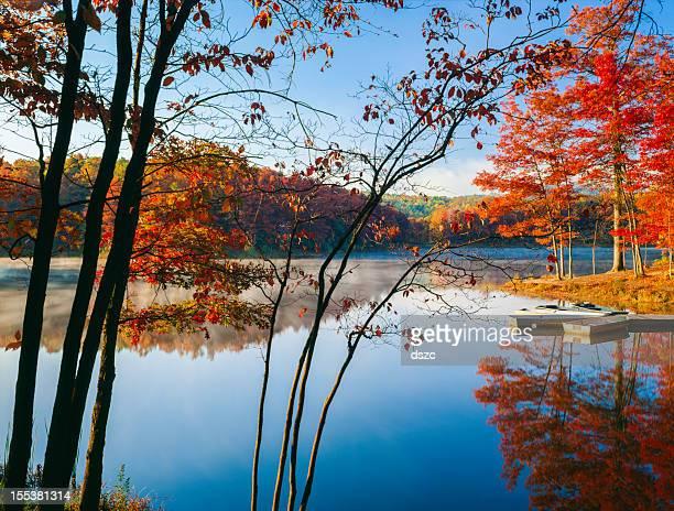 orange autumn foliage, blue sky, fog rising, calm lake, reflections