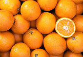 Oranges Raw fruit and vegetable backgrounds overhead perspective, part of a set collection of healthy organic fresh produce