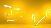 orange background with strip lights - 3D illustration