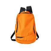 A high-resolution image of an isolated orange-colored rucksack on white background. High-quality clipping path included.