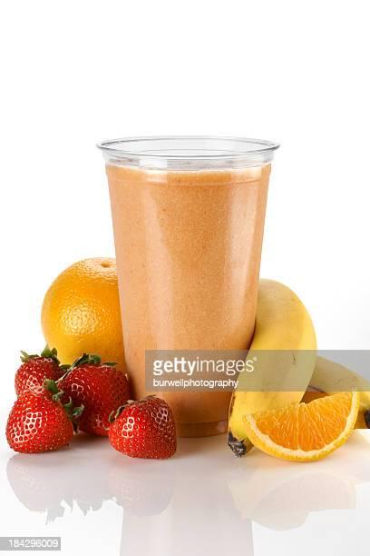 Orange fruits Smoothie à la fraise et à la banane