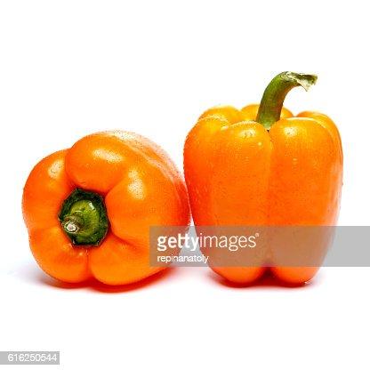 orange bell pepper isolated : Stock Photo