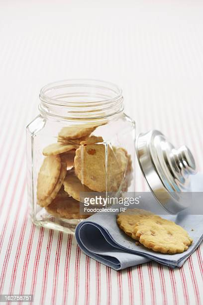 Orange biscuits in cookie jar