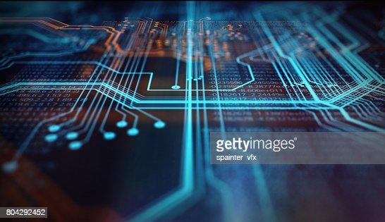 Orange,  blue technology background : Stock Photo