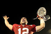 Orange bowl MVP Andrew Luck of the Stanford Cardinal celebrates after Stanford won 4012 against the Virginia Tech Hokies during the 2011 Discover...