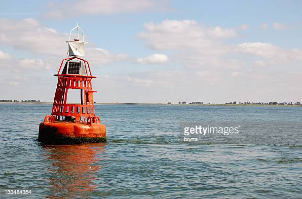 Orange buoy in the Eastern Scheldt,Zeeland,the Netherlands