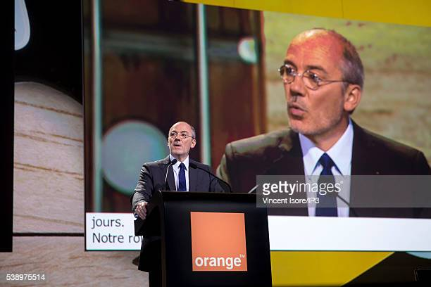 Orange CEO Stephane Richard speaks during the general shareholders meeting of French telecom operator Orange organized at Palais des Congres on June...