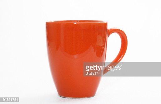 Orange Coffee Cup on White Background - Closeup