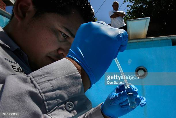PARK CA Orange County Vector Control inspector Eddie Garcia puts a dropper full of pool water in sample jar A quarterinch long mosquito larvae from...