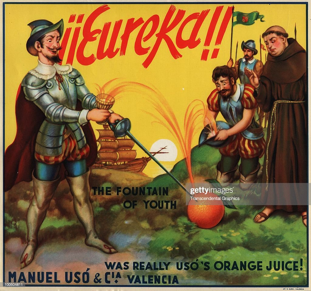 Orange crate label for a box of imported oranges from Spanish=based Manuel Uso & Cia features an illustration of conquistador Ponce de Leon as he punctures an orange with a sword accompanied by the text 'Eureka! The Fountain of Youth was reallty Uso's orange juice!' 1920s or 1930s.