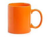 Orange cup mug drink on white background isolation
