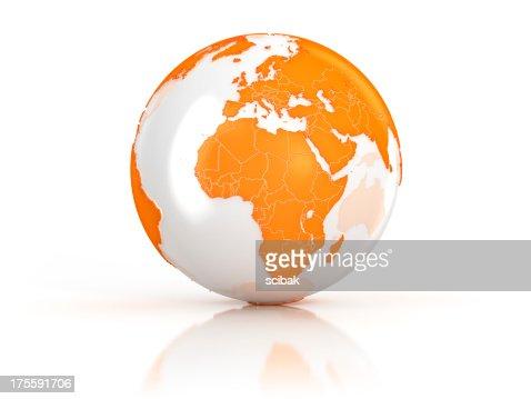 Orange Earth globe on white surface